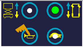 按下行走按钮。按住喇叭按钮选择起升后行走速度调节。调节该速度应保持按住它。显示指示当前设定值。可以用右转(增加)和左转(减少)按钮来调节速度。