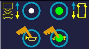 按下行走按钮。按住喇叭和乌龟按钮选择转向速度调节。调节速度是需要按住这两个按钮。可以用右转(增加)和左转(减少)按钮来调节速度。