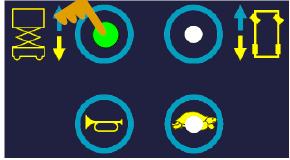 按下起升按钮。按钮上的LED指示该模式被激活。可以用右转(增加)和左转(减少)按钮来调节速度。